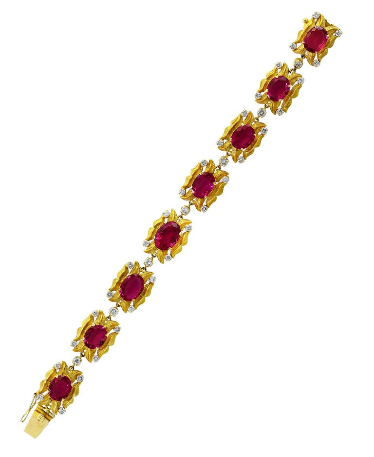 24 Carat Pink Tourmaline and 2.75 Carat Diamond Bracelet  18 Karat Yellow Gold In Excellent Condition For Sale In Scarsdale, NY