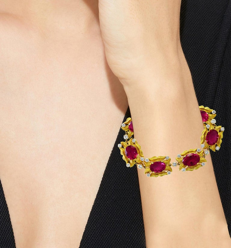 Women's 24 Carat Pink Tourmaline and 2.75 Carat Diamond Bracelet  18 Karat Yellow Gold For Sale