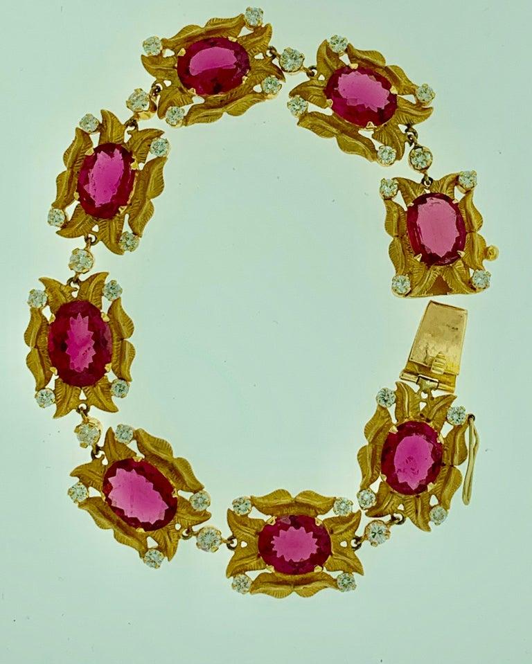 24 Carat Pink Tourmaline and 2.75 Carat Diamond Bracelet  18 Karat Yellow Gold For Sale 2