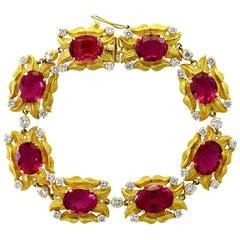 24 Carat Pink Tourmaline and 2.75 Carat Diamond Bracelet  18 Karat Yellow Gold