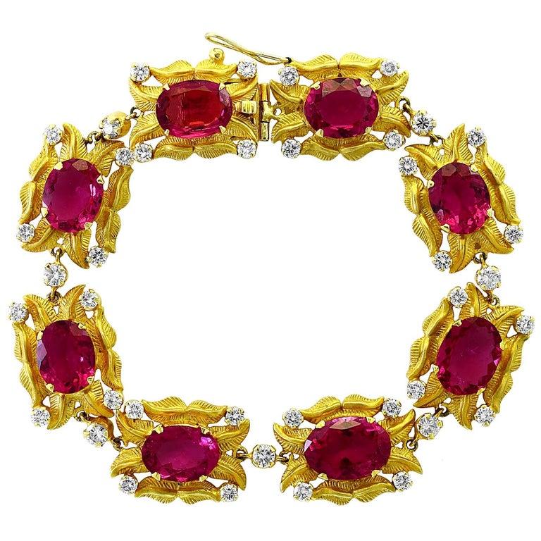 24 Carat Pink Tourmaline and 2.75 Carat Diamond Bracelet  18 Karat Yellow Gold For Sale