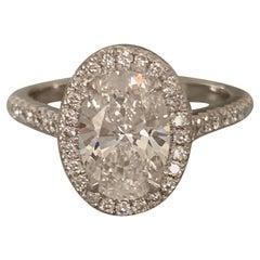 2.4 Carat Tw Approximate Oval Diamond Halo Ring, Ben Dannie Design