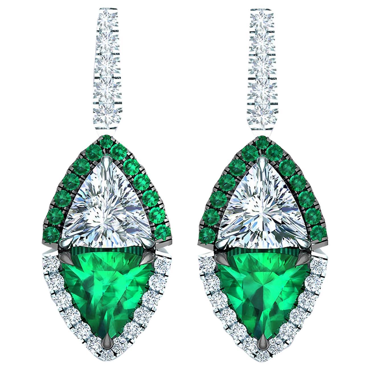 2.4 Carat Emerald and Diamond Drop Earrings