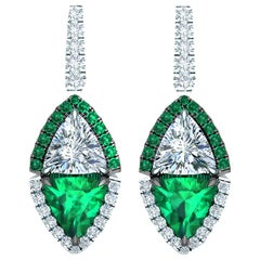 2.4 Carat Emerald and Diamond Drop Earrings