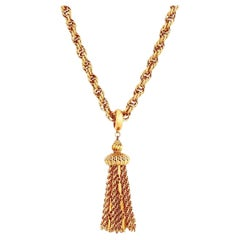 """24"""" Gold Chain """"Damita"""" Necklace With Tassel Pendant By Monet, 1960s"""