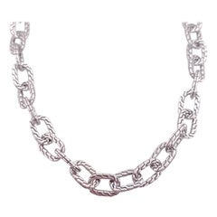 Chain Necklace in Sterling Silver w Designer Links, Heavy Chain