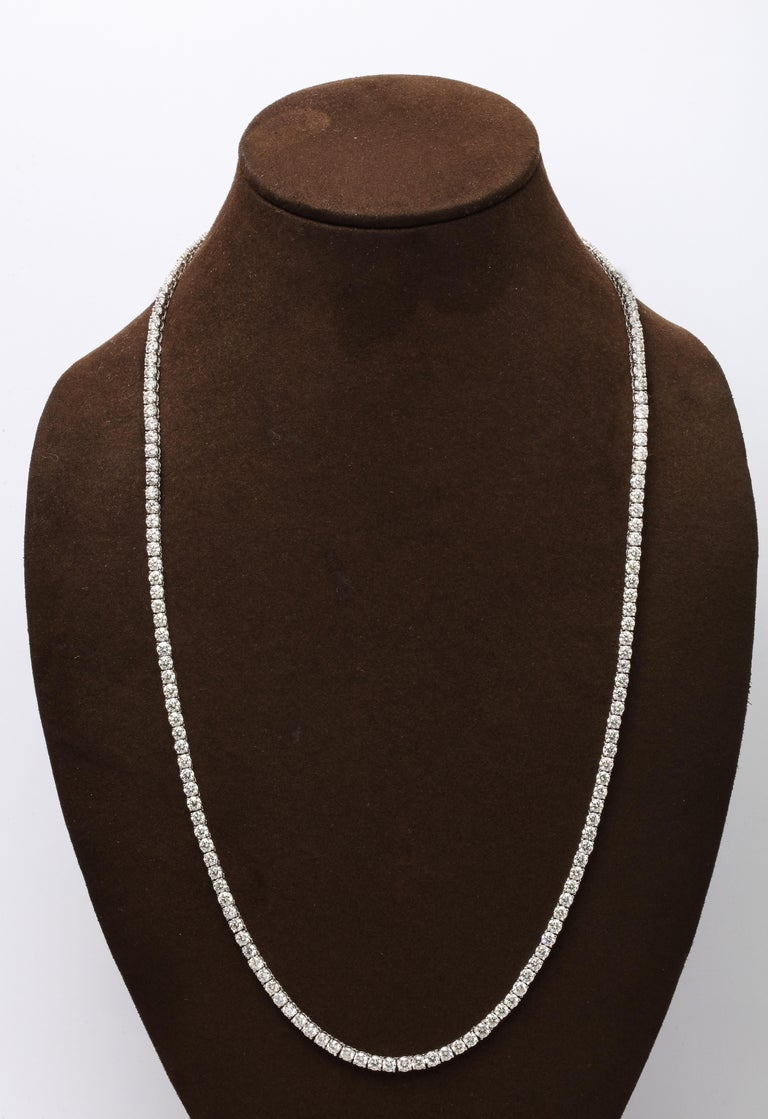 27.59 carats of white round brilliant cut diamonds set in 14k white gold.  24 inch length   A fabulous necklace that makes a statement on its own or looks great layered with other pieces.   Also available in 36 inch length.