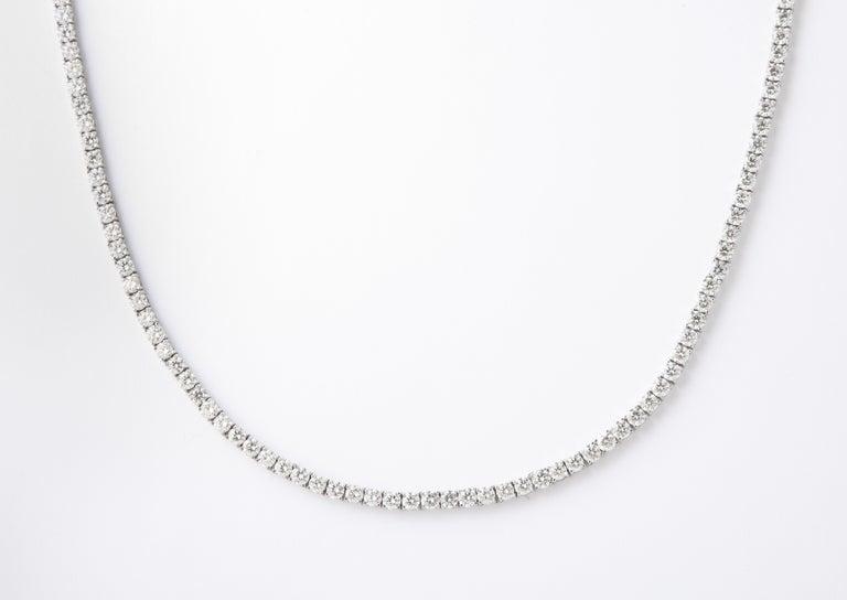 Round Cut Diamond Tennis Necklace For Sale
