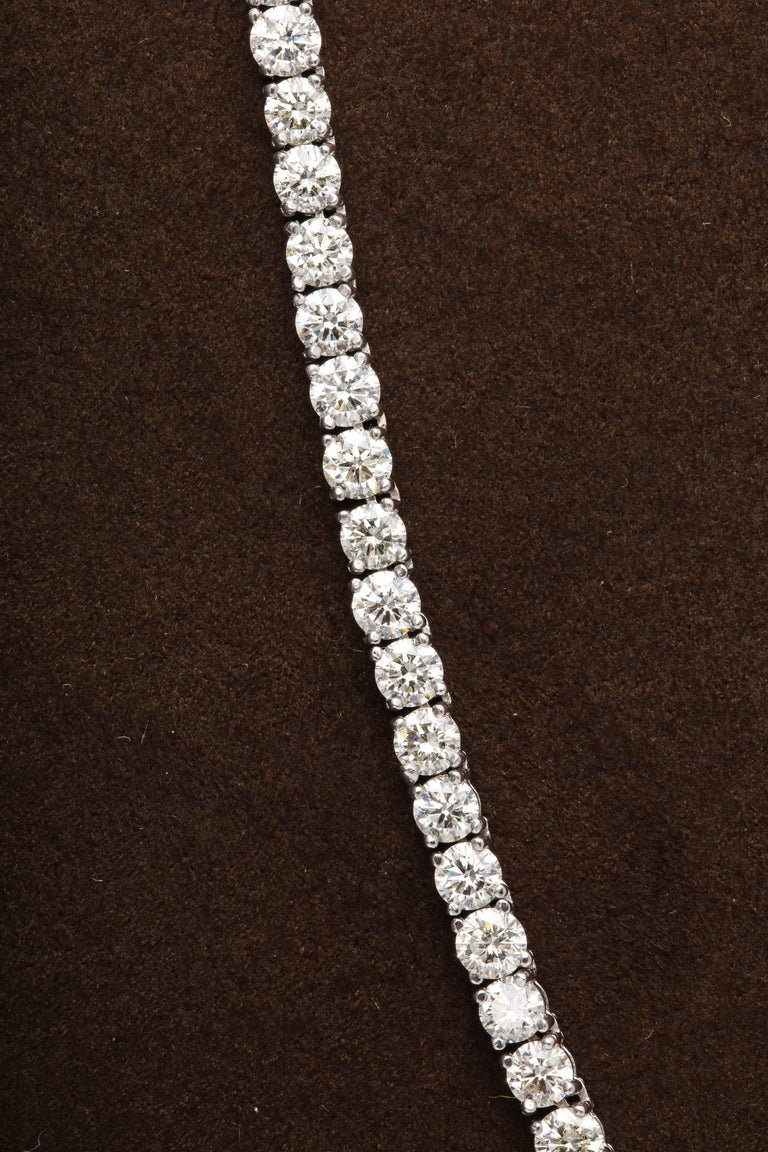 Women's or Men's Diamond Tennis Necklace For Sale