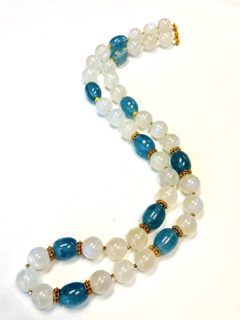 Artisan Moonstone Bead and Aquamarine Bead Necklace, 18 Karat & 22k Yellow Gold Spacers For Sale