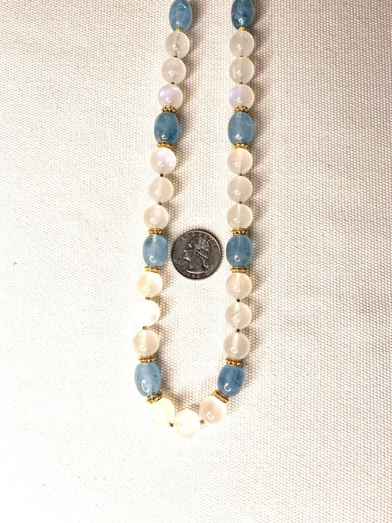 Moonstone Bead and Aquamarine Bead Necklace, 18 Karat & 22k Yellow Gold Spacers In New Condition For Sale In Los Angeles, CA