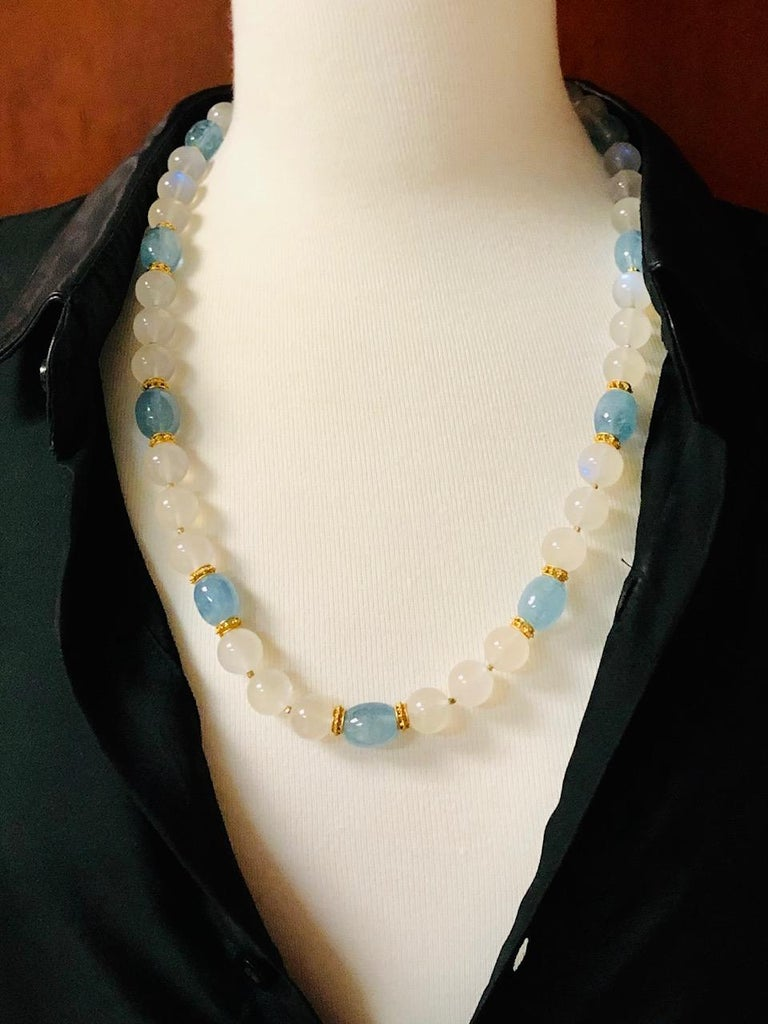 Women's Moonstone Bead and Aquamarine Bead Necklace, 18 Karat & 22k Yellow Gold Spacers For Sale