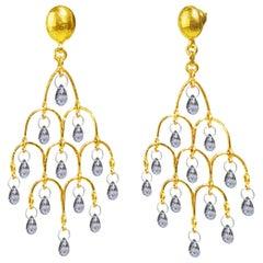 GURHAN 22-24 Karat Hammered Yellow Gold Blue Sapphire Chandelier Earrings