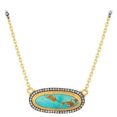 24 Karat and Oxidized Sterling Silver Kingman Turquoise, Cognac Diamond Necklace