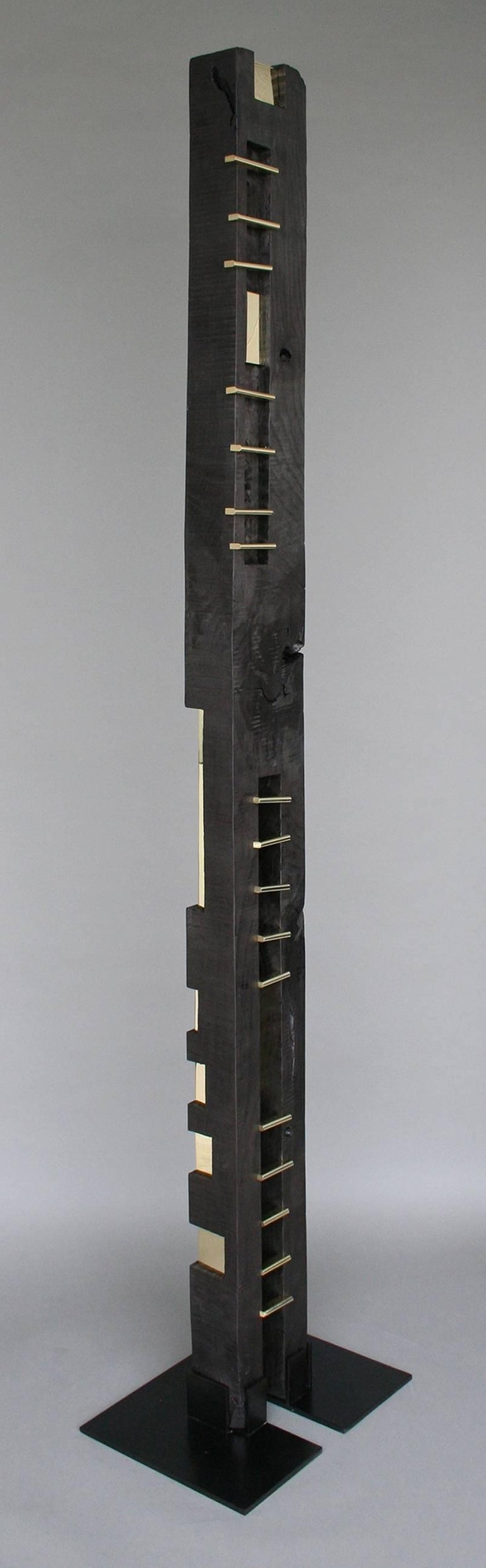 American 24-Karat Black TOTEM Sculpture in Ebonized Wood and Solid Brass For Sale