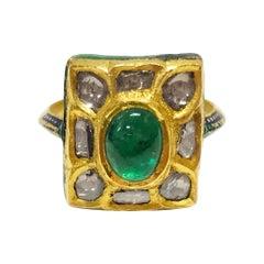 24 Karat Diamond Emerald Enamel Ring