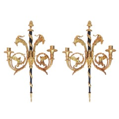 24-Karat Empire Style Candle Wall Sconces Pair w/ Goat Heads