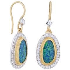 24 Karat Gold and 18 Karat White Gold Opal Diamond Ocean Drop Earrings