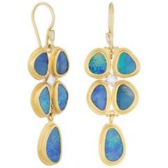 24 Karat Gold and Australian Opal Doublet and Step Cut Diamond Drop Earrings