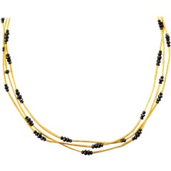 GURHAN 24 Karat Yellow Gold and Black Diamond Triple-Strand Necklace