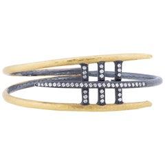 24 Karat Gold and Oxidized Silver Diamond Bracelet