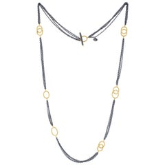24 Karat Gold and Oxidized Sterling Silver Necklace