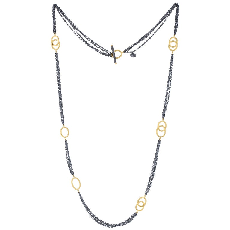 24 Karat Gold and Oxidized Sterling Silver Necklace For Sale