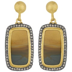 24 Karat Gold and Oxidized Sterling Silver Owyhee Jasper Drop Earrings
