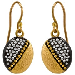 24 Karat Gold and Oxidizied Sterling Silver Diamond Earring Drops