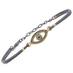 24 Karat Gold and Sterling Silver Blue Sapphire and Diamond Bracelet