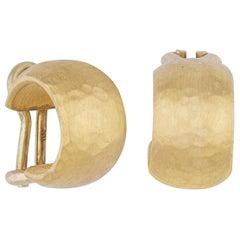 24 Karat Gold Chunky Hoop Earrings with 18 Karat Gold Omega Backs