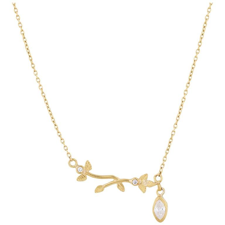 24 Karat Gold Diamond Side Drop Necklace For Sale