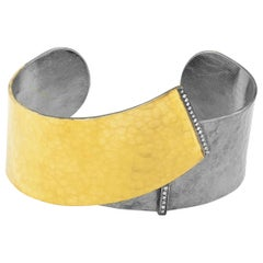 24 Karat Gold Fusion and Oxidized Silver Cuff with Diamonds