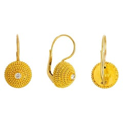 24 Karat Gold Handcrafted Granulated Drop Earrings with Brilliant Cut Diamonds