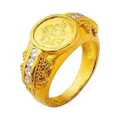 24 Karat Gold Handcrafted Ottoman Coin Tapered Classic Ring with Diamonds