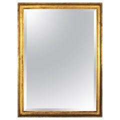 24-Karat Gold Leaf Giltwood Empire Beveled Mirror