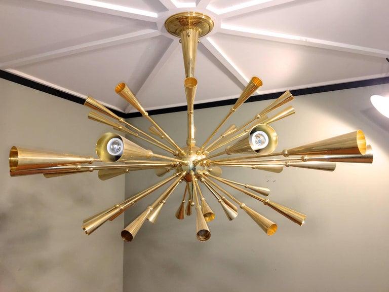24-Karat Gold Monumental Sputnik Chandelier For Sale 3