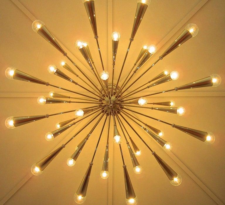 Mid-Century Modern 24-Karat Gold Monumental Sputnik Chandelier For Sale