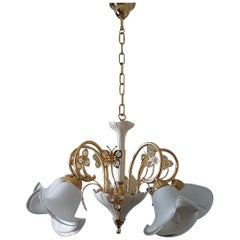 24-Karat Gold Plated Brass Murano Swarovski Chandelier by B.C. San Michele