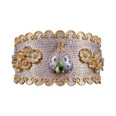 24 Karat Gold, Rhodium, Sapphire and Peridot Mini Coccinelle Cuff with Lady Bug