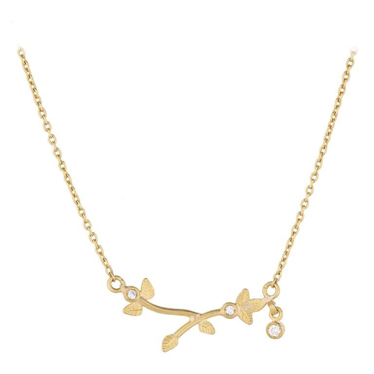24 Karat Gold Side Drop Diamond Necklace For Sale