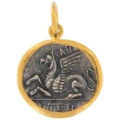 24 Karat Gold Sterling Silver Reproduction Ancient Pegasus Coin Pendant