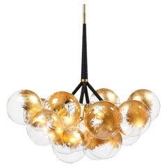 24-Karat Gold X-Large Bubble Chandelier in Black Leather & Satin Brass by Pelle