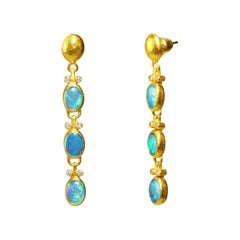 24 Karat Hammered Gold and Australian Opal and Diamond Triple Drop Earrings
