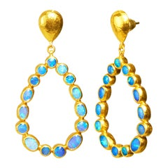 GURHAN 24 Karat Hammered Yellow Gold and Australian Opal Teardrop Earrings
