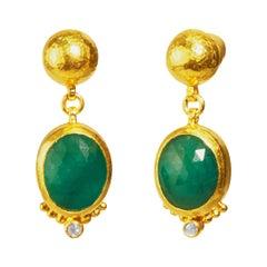 GURHAN 24 Karat Hammered Yellow Gold and Diamond Oval Emerald Drop Earrings