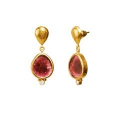 24 Karat Hammered Gold and Diamond Pink Tourmaline Slice Drop Earrings