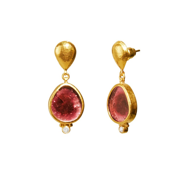 24 Karat Hammered Gold and Diamond Pink Tourmaline Slice Drop Earrings For Sale