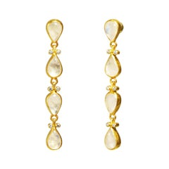 24 Karat Hammered Gold and Diamond White Rainbow Moonstone Drop Earrings