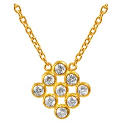 24 Karat Hammered Gold and White Diamond Cluster Pendant Necklace